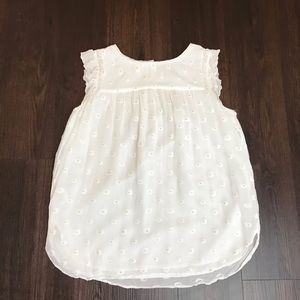 loft sleeveless white and gold Top